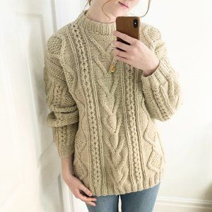 Vintage Aran Fisherman Cable Knit Celtic Sweater